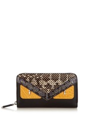 Fendi Crayons Bag Bugs Zip Around Wallet Black Multi