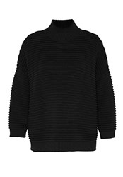 Hallhuber Jumper With Prominent Cross Rib Black