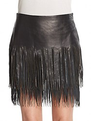 Blk Dnm Leather And Suede Fringe Skirt Black