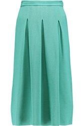 Vionnet Pleated Honeycomb Knit Midi Skirt Blue