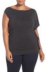 Addition Elle Love And Legend Plus Size Women's Asymmetrical Off The Shoulder Top Black