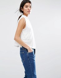 Mango Boxy White Sleeveless Shirt White