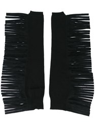 Maison Martin Margiela Mm6 Fringed Fingerless Gloves Black