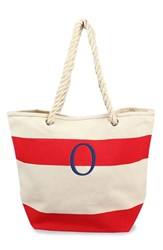 Cathy's Concepts Personalized Stripe Canvas Tote Red Red O