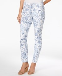 Charter Club Bristol Printed Slim Ankle Jean Only At Macy's Blue Floral