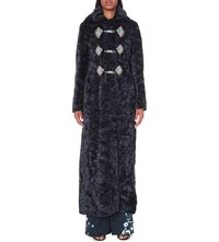 Peter Pilotto Embroidered Faux Shearling Hooded Coat Navy