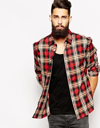 Asos Oversized Shirt In Long Sleeve With Check Black