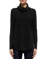Whistles Cashmere Cowlneck Rib Knit Sweater Black