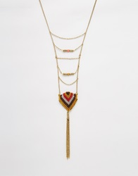 Warehouse Layered Necklace With Tassle Multi