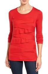 Vince Camuto Petite Women's Zigzag Sweater Fire Glow