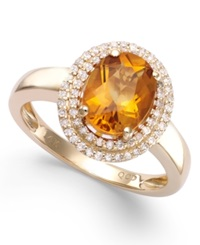 Macy's Citrine 1 3 4 Ct. T.W. And Diamond 1 3 Ct. T.W. Oval Ring In 14K Gold Orange