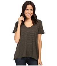 Project Social T Striped Easy Tee Army Women's Shirt Green