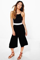 Boohoo Crochet Trim Culotte Jumpsuit Black
