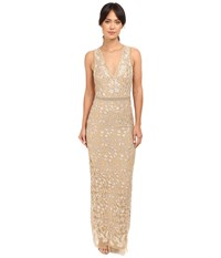 Nicole Miller Embroidered Tulle Gown Gold Women's Dress