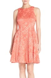 Women's Maggy London 'Plisse' Floral Jacquard Fit And Flare Dress