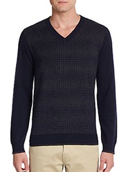 Saks Fifth Avenue Cashmere V Neck Sweater Navy Charcoal