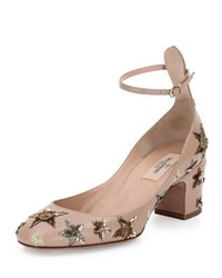Valentino Star Studded Low Heel Ankle Strap Pump Poudre Al Campion