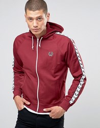 Fred Perry Track Jacket With Taped Sleeves And Hood In Maroon Maroon Red