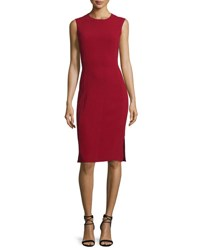 Joseph Sadie Sleeveless Stretch Crepe Sheath Dress Oxblood