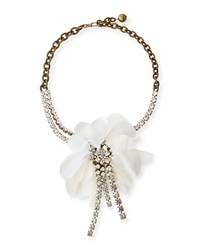 Flower Chain And Crystal Choker Necklace White Ivory Lanvin