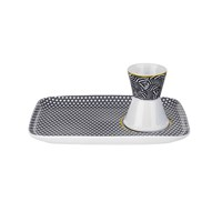 Ted Baker Egg Cup And Snack Plate Blanchard Black
