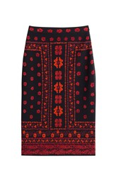 Alexander Mcqueen Wool Blend Skirt With Silk Multicolor