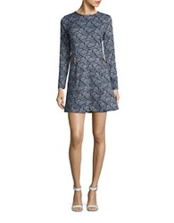 Michael Michael Kors Petite Paisley Print Long Sleeve Fit And Flare Dress Navy