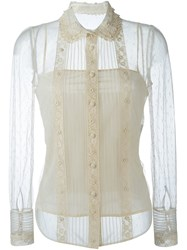 Red Valentino Sheer Longsleeved Shirt White