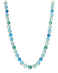 Ippolita Rock Candy Mother Of Pearl And Clear Quartz Doublet Tennis Necklace In Blue Star 16 Blue Silver