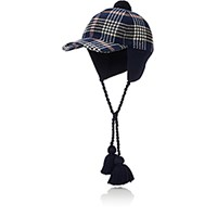 Gucci Men's Plaid And Knit Trapper Cap Blue