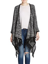Kensie Tassel Trimmed Space Dyed Cardigan Black Combo