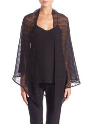 Harrison Morgan Pintucked Silk Georgette Triangle Stole Black