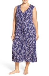 Oscar De La Renta Plus Size Women's Sleepwear Ruched Nightgown