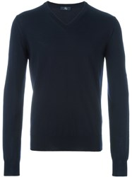 Fay V Neck Ribbed Sweater Blue