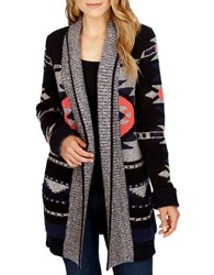 Lucky Brand Aztec Patterned Open Front Cardigan Grey Multi