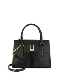 Calvin Klein Fringe Accented Leather Satchel Black Gold