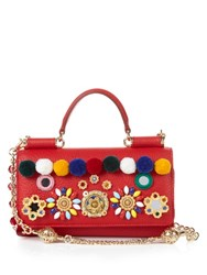 Dolce And Gabbana Sicily Brocade And Leather Cross Body Bag Red