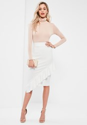 Missguided White Jersey Crepe Frill Front Midi Skirt