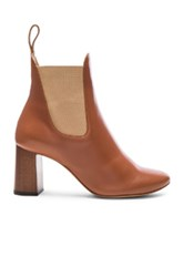 Chloe Leather Harper Ankle Boots In Brown