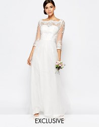 Chi Chi London Bridal Bardot Neck Maxi Dress With Premium Lace And Tulle Skirt White