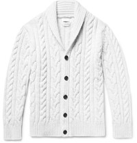 Richard James Jame Cable Knit Wool Cardigan Light Gray