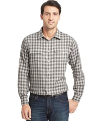 Van Heusen Long Sleeve Heathered Plaid Shirt Grey