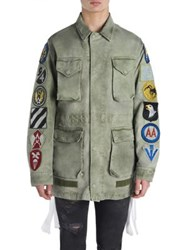 Off White Long Sleeve Cotton Jacket Military Green