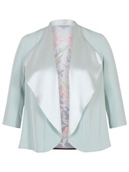 Chesca Floral Print Satin Shrug Aqua Multi