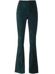 Drome High Waisted Flare Trousers Green