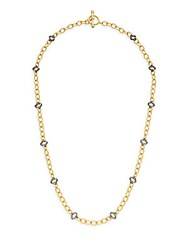Freida Rothman Open Crystal Clover Station Necklace Gold