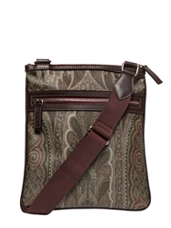 Etro Paisley Printed Waxed Canvas Flat Bag Green