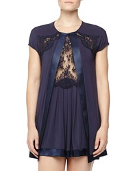 La Perla Pizzo Lace Trim Open Robe Bluemarine