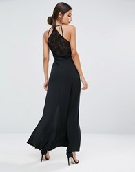 Asos Strappy Maxi Dress With Lace Back Black