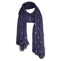 Fat Face Star Foil Scarf Navy